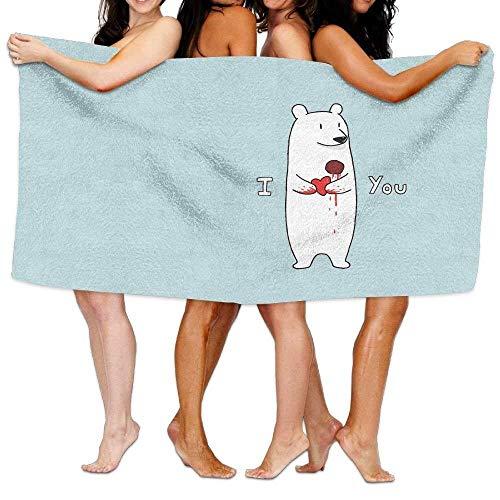 hdgfjhdfjdf Women's Cottton Funny Polar Bear Love Valentine's Day Bath Shower Wrap Towels - Womens Polar Bear