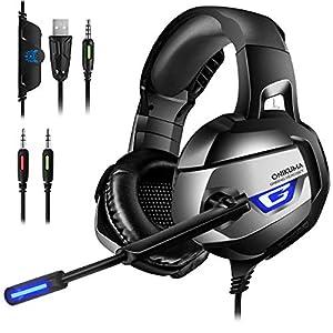 ONIKUMA Gaming Headset Xbox one – 7.1 Bass Surround Noise Cancelling Gaming Headset PC mit Mikrofon 3,5mm Stumm-und Lautstärkeregler Gaming Kopfhörer für PS4 PC LaptopTablets usw