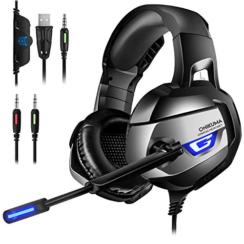 ONIKUMA Gaming Headset Xbox one - 7.1 Bass Surround Noise Cancelling Gaming Headset PC mit Mikrofon 3,5mm Stumm-und Lautstärkeregler Gaming Kopfhörer für PS4 PC LaptopTablets usw