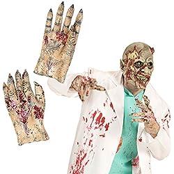 NET TOYS Manos de zombie terroríficas Extremidades látex muerto viviente Guantes monstruo Elemento zombie Accesorio disfraz halloween Vestimenta horror