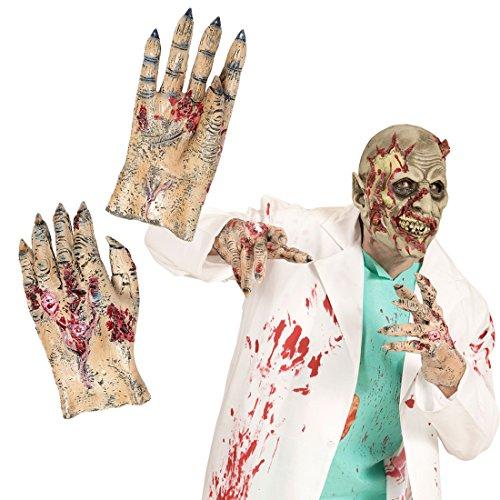 NET TOYS Gruselige Zombie Hände Latex Handschuhe Untoter Monster Latexhandschuhe Zombiehand Monsterhände Halloween Kostüm Accessoires Horror Verkleidung Zubehör