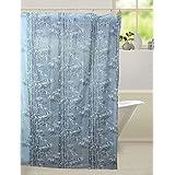 Kuber Industries™ Floral Design PVC Premium Shower Curtain - 7 Feet -84*54 Inches- 8 Hooks