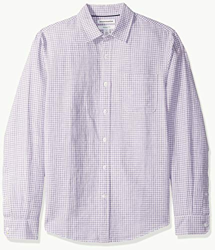 Amazon Essentials Slim-Fit Long-Sleeve Stripe Linen button-down-shirts, Lavendar Gingham, US (EU XL-XXL) -