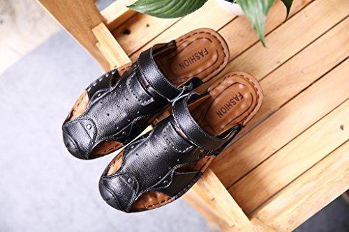 Xing Lin Sandali Estivi Uomini Sandali Di Cuoio Cuoio _ Primo Strato Di Pelle Sandali Tendine Uomo In Pelle Sandali Ciabattine Maschio black