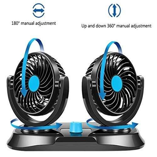 LISAY Mini ventilador, cabezal doble, ventilador de enfriamiento automático para automóviles, 2...