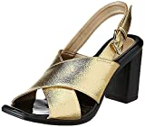 #10: Catwalk Golden Leather Heeled Sandals for Women's