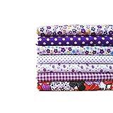 LUFA 7pcs / set La flor del paño de la tela de algodón de DIY imprimió la serie púrpura que acolchaba 50 * 50CM