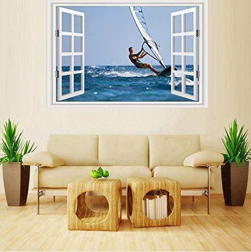 PANDABOOM 45X90 cm 3 Panels Bewölkt Seascape Wandbilder Wandaufkleber Fenster Aufkleber Tapete Aufkleber Dekoration, J