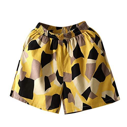 WOZOW Shorts Kurze Hose Damen Bettwäsche Baumwolle Casual Lose Color Block Patchwork Mini Strand Beach Freizeithose Stoffhose A Line Mode Pyjama Trousers (XL,Color Block) - Womens Cuffed Denim Bermuda Shorts