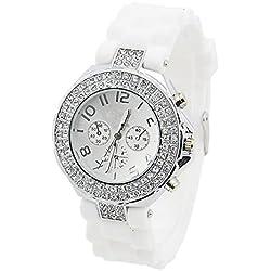 PromiseU Bling Crystal Stone Quartz Ladies/Womens/Girls Jelly Silicone Wrist Watch-Black
