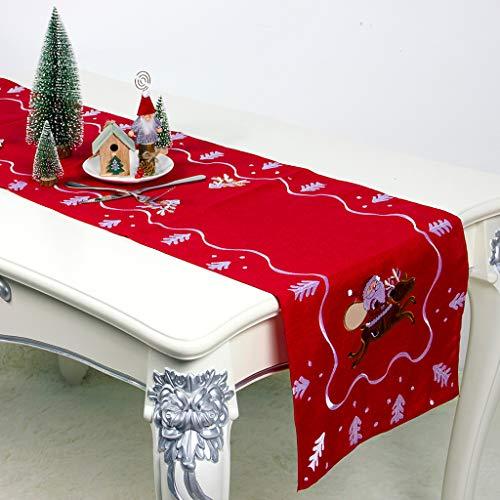 Mama Weihnachtsmann Kostüm - Tischfahne, Chshe TM, Weihnachtsfeier Dekoration KostüM Tuchkunst Stickerei Weihnachtsmann Tisch Tischdecke(Grau)