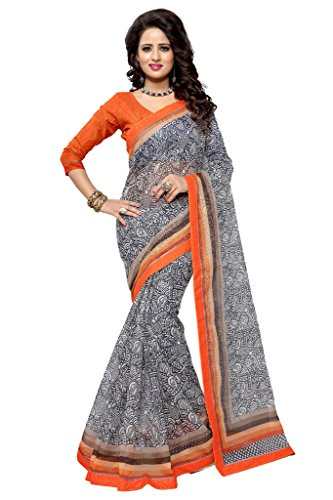 SOURBH Women's Art Silk (Super Net) Abstract Printed Saree (2356_Grey, Orange)  available at amazon for Rs.695
