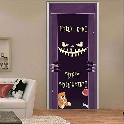 fenjinsheng Dämonen Lächeln Scary Effekt Halloween Tür Aufkleber Wasserdichte Tür Dekorative Abziehbilder Selbstklebend Wohnkultur Wandbild Dark Cartoon