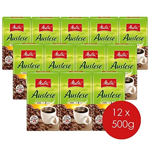 Melitta Gemahlener Röstkaffee, 12 x 500 g, Filterkaffee, vollmundig und mild, milder Röstgrad, Stärke 3, Auslese Klassisch-mild