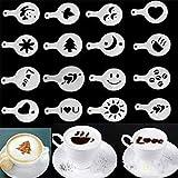 Cappuccino Kaffee Schablonen Vorlage Strew Blumen Pad Duster Spray Festliche Weihnachten Valentinstag Liebesform Barista Art Cake Decotation Tools Weiß Satz von 16