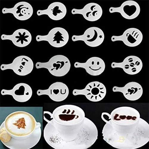 Cappuccino Kaffee Schablonen Vorlage Strew Blumen Pad Duster Spray Festliche Weihnachten Valentinstag Liebesform Barista Art Cake Decotation Tools Weiß Satz von 16 - Form Kaffee