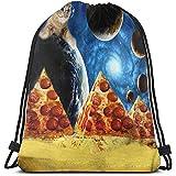BOUIA Backpack Lustige Pizza Pyramide Planet Space Cat Kordelzug Taschen Mehrzweck String Rucksack...
