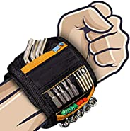 LEKEONE Magnetic Wristband, Magnetic Tool Belt Tool Wristband with 2 Small Pockets,15-Powerful Magnets Adjusta