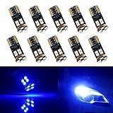 Grandview 10pcs T10 501 LED Canbus Super Helle Blau 194 168 12n3030 SMD LED Ersatz für Autoinnenraum, Armaturenbrett, Kennzeichen, Sidelights Boot Glühbirnen (9 V-16 V)