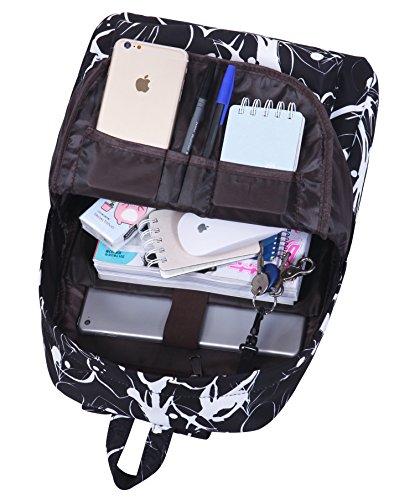 Tibes School Rucksack Polyester leichter Rucksack gedruckt Casual Rucksack für Mädchen Schwarz 1
