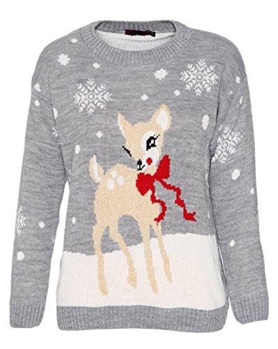 Style Divaa -  Maglione  - Maniche lunghe  - Donna grigio Bambi-Grey