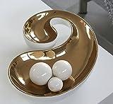 Moderne Deko Schale Obstschale CHERRY aus Keramik weiß/kupfer Breite 27 cm Länge 40,5 cm