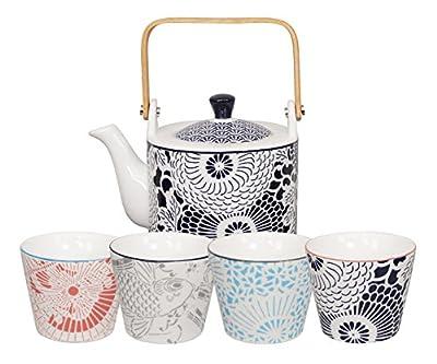 Tokyo Design Studio, Théière 0.8L + 4 tasse, Motif Shiki N