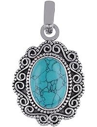 5.3 Gram Pure 925 Silver Turquoise Pendant for Unisex