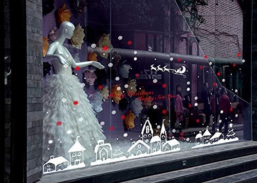Wandsticker Weihnachts Dekoration Schlitten und Schneeflocke Stadt Wandtattoos Moginp (A) (Schlitten Dekoration Weihnachten)