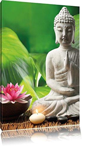 Seerosenblüte mit Buddha Statue , Format: 40x60 auf hochkantiges Leinwand, XXL riesige Bilder fertig gerahmt mit Keilrahmen, Kunstdruck auf Wandbild mit Rahmen, günstiger als Gemälde oder Ölbild, kein Poster oder Plakat