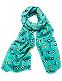 Blue & Yellow Butterfly Print Wide Green Fringe Scarf