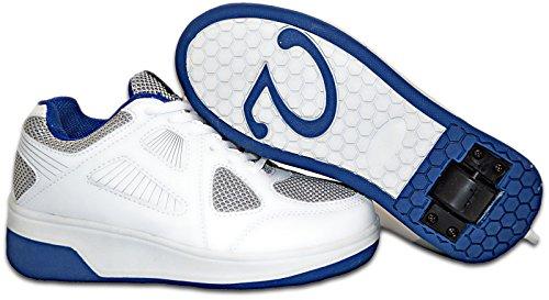 Elara Damen Herren Kinder Rollschuhe Sportschuhe Schuhe mit Rollen Laufschuhe Runners Sneakers Weiß-Grau