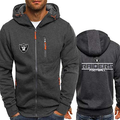 Hoodie NFL Football Jersey Oakland Raiders Langarm-Zipper Sweatshirts Männer Herbst Jersey High Neck Hoodie Long Sleeve T-Shirt Pullover,XXL