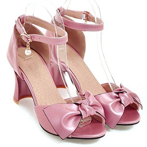 TAOFFEN Damen Mode-Event Fesselriemen Schnalle Pearl Bogen Sommer Peep-toe Blockabsatz Sandalen Pink