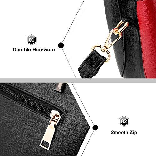 Yoome Contrast Colore Borse a tracolla in grande capacità borsa da tracolla New Chic Bags For Women - P.Grey W.B.Red