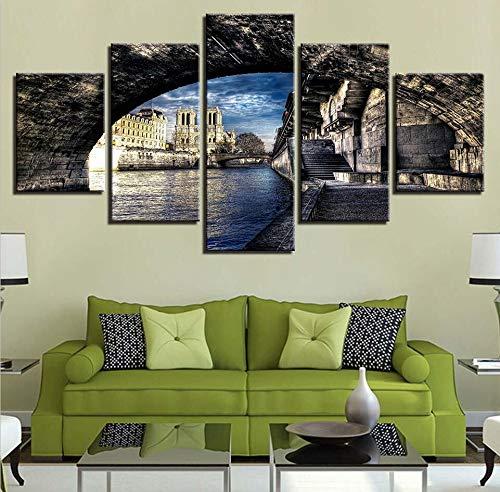 mmwin Wandkunst Spray Modular HD Gedruckt Moderne 5 Stücke Wasserfall Landschaft Leinwand Poster Wohnzimmer Bilder Decor Flur