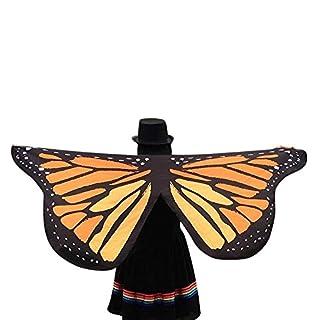 Amcool Schön Schmetterlings Flügel ✿✿ Schmetterling Kostüm Chiffon Schals Feenkostüm Damen Karneval Cosplay Accessoires (145*65CM, Gelb 1)