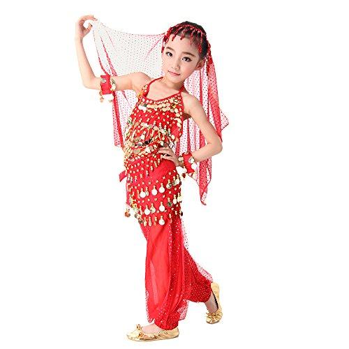 Kostüm Tanz Gelb (Besmall Bauchtanz Kostüm / Schürze / Zubehör set Full Set Belly Dance indischen Tanz Kleidung Performance Set 2pcs /3pcs /5pcs & Rot +)