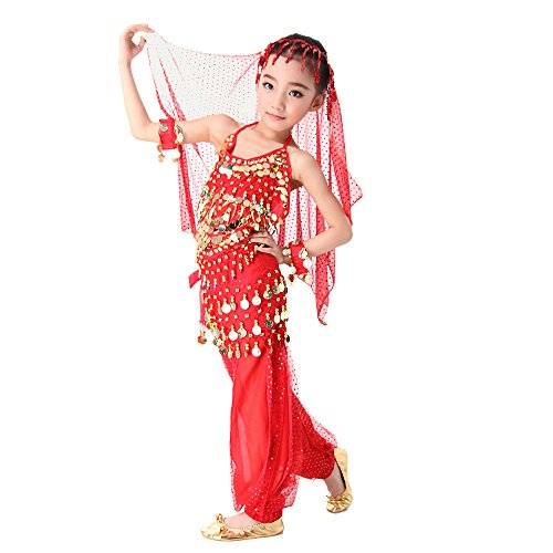 Besmall Bauchtanz Kostüm / Schürze / Zubehör set Full Set Belly Dance indischen Tanz Kleidung Performance Set 2pcs /3pcs /5pcs & Rot + (Indische Kinder Kostüme)
