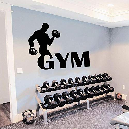 Gym name wandtattoo fitness club wasserdicht vinyl aufkleber fitness name zeichen wohnkultur kunst wandbilder wandaufkleber 55 * 42 cm