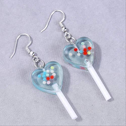 GUOHUANEUP Mädchen Ohrringe 1 Paar Mode Handwerk Harz Süßigkeiten Lutscher Mit Perlen Ohrringe Für Frauen SchmuckBlau