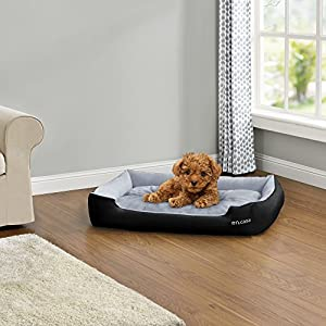 [en.casa] Panier pour chien - avec coussin réversible - tissu d'oxford / coton -