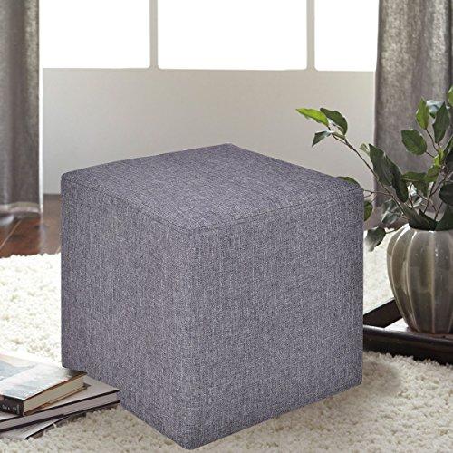 COSTWAY Sitzhocker Sitzwürfel Sitzbox Sitzbank Ottomane Polsterhocker Hocker Fußhocker Dekohocker Leinen 35x35x35cm