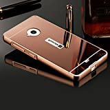 Slynmax Spiegel Design Ultradünn Metall Bumper Case Hart PC Plastik Rückschale Cover Schutzhülle für Microsoft Lumia 535 Hülle 2in1 Dual Layer Electroplate Handy Rückseite Anti-Scratch Case Handyhülle Transparent Crystal Clear Hybrid Heavy Duty Etui Outdoor Tasche Backcover + 1x Schwarz Eingabestift Touchstift Stylus Pen (Rosegold)