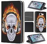 Samsung Galaxy S4 Mini Hülle von CoverHeld Premium Flipcover Schutzhülle Flip Case Motiv (505 Totenkopf Skull mit Kopfhörer in Flammen Schwarz Weiß Rot)