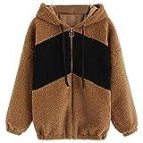 Damen Mantel Winter Sweatjacke MYMYG Strickjacke Steppmantel KüNstliche Wollmantel Hoodie Sweater Kapuzenjacke Warm Coat(BraunEU:34/CN-S)