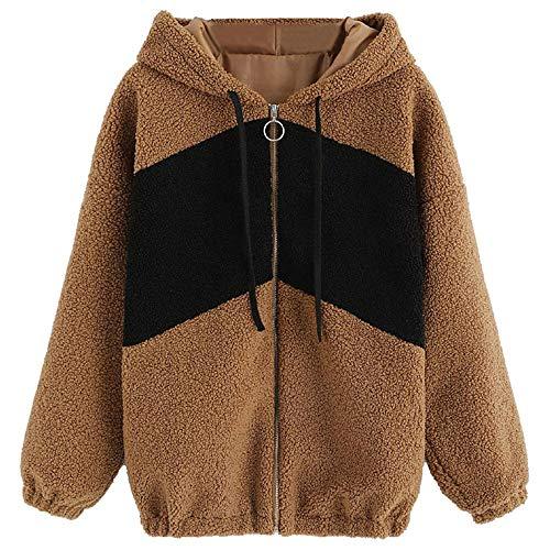 c2e0523e27d4 TianWlio Mäntel Frauen Weihnachten Damen Mantel Langarm Strickjacke Jacke  Outwear Herbst Winter Mantel Lässige Lange Ärmel Fleece mit Kapuze  Reißverschluss ...