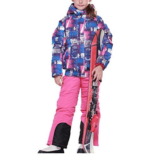 OMSLIFE Jungen Mädchen Kinder Skianzug Skijacke Skihose Regenlatzhose Verdickung Lang Jacket Wintermantel Mantel(Keine Skier) (116/122, Rosa)