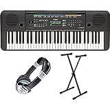 Yamaha PSR E253 Keyboard SET inkl. Keyboardständer und Kopfhörer (61 Tasten, AWM Stereo Sampling Tonerzeugung, 32-stimmige Polyphonie, 372 Sounds + 13 Drum Kits, inkl. Netzadapter und Notenablage)