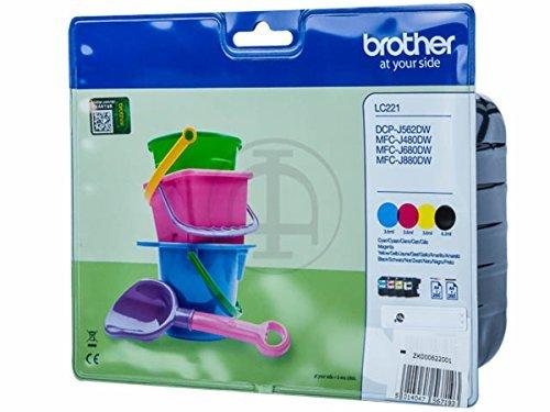 Preisvergleich Produktbild Brother original - Brother MFC-J 480 DW (LC-221 VAL BPDR) - Tintenpatrone MultiPack (schwarz, cyan, magenta, gelb) - 260 Seiten